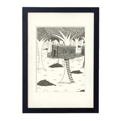House on a tree illustration black and white ink by liatib on Etsy