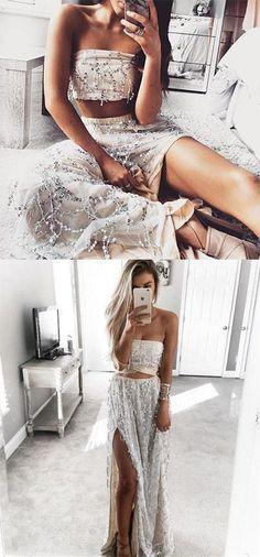 2017 two piece prom dresses,sexy two piece prom dresses,prom dresses for teens, dresses for teens Unique Two Piece Sheath Strapless Split Front Long Prom Dress With Sequins Stunning Prom Dresses, Pretty Dresses, Sexy Dresses, Beautiful Dresses, Fashion Dresses, Fashion 2018, Ladies Fashion, Womens Fashion, Fashion Games