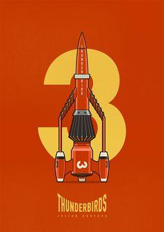 Illustrations of the Scientific Rescue Team the Thunderbirds. 5, 4, 3, 2, 1 Thunderbirds are GO! Julian Burford