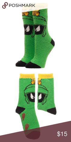 Marvin the Martian Fuzzy Socks Looney Tunes SOFT! This is for 1 pair of Looney Tunes themed cozy fuzzy socks.  Greetings Earthlings!  This cute pair of socks features Marvin the Martian!  They're fuzzy and soft and very comfortable.    Theme:  Looney Tunes - Officially Licensed Pattern: Marvin the Martian Style: Fuzzy Cozy Crew Socks Fits Sock Size:  9-11 Fits Shoe Size: 5-10 Materials: 98% Polyester, 2% Spandex Brand: Bioworld  Perfect for any fan of Looney Tunes!  Makes a great gift…