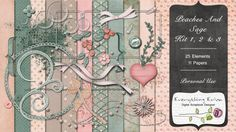 Peaches And Sage Kit 1, 2 & 3 - $5.49 : ScrapBird!, source for digital scrapbooking