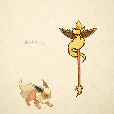 No. 136 - Flareon. #pokemon #flareon #staff #pokeapon