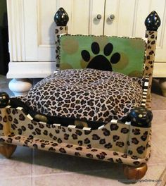 cheetah+furniture | found a cushion to fit with animal print on one side and plain black ...