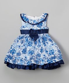 Look what I found on #zulily! Blue & White Floral Dress - Toddler & Girls #zulilyfinds