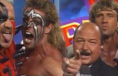 WWF (WWE) SURVIVOR SERIES 1990 - My favourite Survivor Series pic. Looks like Mean Gene is part of the Ultimate Warrior's team.