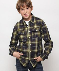 This Brown & Green Plaid Button-Up - Boys is perfect! #zulilyfinds