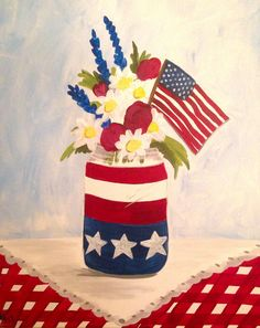 Patriotic Bouquet with Kate Glitter Girl, Art Projects, Planter Pots, Bouquet, Create, Artist, Pink, Paintings, Inspiration