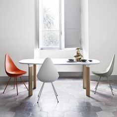 Jaime Hayon Analog Table White Laminate Top with Oak Legs + Arne Jacobsen Drop Chairs | http://www.paletteandparlor.com/products/jaime-hayon-analog-table http://www.paletteandparlor.com/products/arne-jacobsen-drop-chair