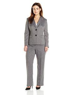 62acb24fe10c Le Suit Women's Plus-Size Two Button Herringbone Jacket and Pant Suit Set