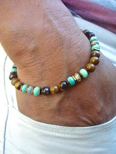 Men's Spiritual Healing, Protection Bracelet with Semi Precious Faceted Moss Opal, Tiger's Eye Hematites in Bronze Tone - High Fashion Man by tocijewelry on Etsy