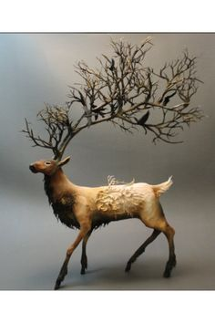 Amazing Taxidermy deer sculpture