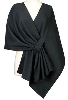 Elegant Solid Color Pleated Cloak Cape For Women