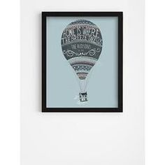 Personalized Hot Air Balloon Framed Art in Black Frame with Blue Graphics