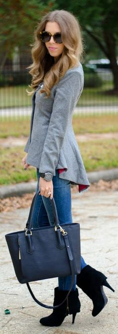 Grey Peplum Blazer with red visible lining