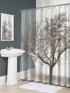 Splash Home Tree Mocha Eva Shower Curtain