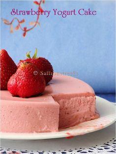 Strawberry yogurt cake – no bake chilled summer dessert