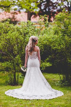 Real wedding in Finland. Dress made by Pukuni (www.pukuni.fi). Wedding dress with lace and open lace back.