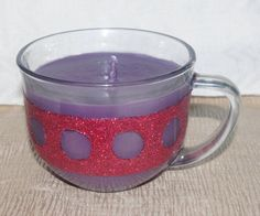 Purple Soy Candle in Clear Mug with Red by DancingWindDesigns