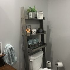 Over the Toilet Ladder Shelf Over The Toilet Ladder, Over Toilet Storage, Toilet Shelves, Cabinet Above Toilet, Bathroom Shelves, Bathroom Storage, Diy Bathroom Remodel, Budget Bathroom, Bathroom Interior