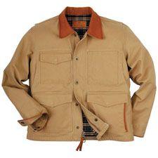 Schnee's Fenceline Jacket.Teflon® Canvas repels moisture. Cow-belly collar and pocket trim, bi-swing shoulders, heavy-duty zippered front and storm flap & shotgun snaps. $179
