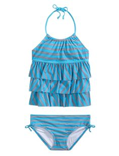 Girls Clothing | Tankinis | Neon Stripe Tiered Tankini Swimsuit | Shop Justice
