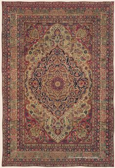 """LAVER KIRMAN, Southeast Persian Antique Rug 11' 0"""" x 16' 0"""" — Late 19th Century- Claremont Rug Company"""