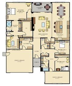 The Vanderbilt - Plan 2756 New Home Plan in Estates at Heritage El Dorado Hills by Lennar Lose the garages Barn House Plans, New House Plans, Dream House Plans, Small House Plans, House Floor Plans, My Dream Home, Dream Houses, The Plan, How To Plan