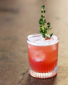 Melon's Rising: gin, rum, Aperol, watermelon syrup, lime, grapefruit bitters, thyme