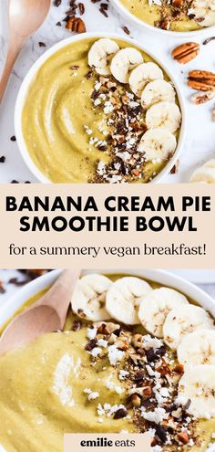 Dessert for breakfast! This creamy banana smoothie bowl is a decadent & healthy way to start the day. Learn how to make a thick smoothie bowl, and don't forget to load on the toppings! Vegan Smoothie Recipes, Smoothie Ingredients, Vegan Dessert Recipes, Vegan Breakfast Recipes, Eat Breakfast, Vegan Snacks, Fruit Recipes, Healthy Desserts, Whole Food Recipes