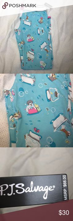 PJ Salvage Dogs in the Tub Sleep Pants L How adorable are these! PJ salvage cotton rayon blend pajama pants Size large New with tag Waist 36 inches Overall length 41 inches Inseam 32 inches Check my other items I love to combine shipping PJ Salvage Intimates & Sleepwear Pajamas