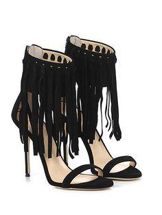 GIUSEPPE ZANOTTI - Sandalo alto - Donna - Sandalo alto in camoscio con zip su retro e frange su cinturino. Suola in cuoio, tacco 105. - NERO - € 795.00