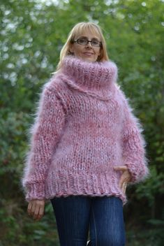 hand knitted FUZZY and CHUNKY COWLNECK mohair SWEATER COLOUR : PINK mix. Yet bear in mind that slight difference is possible due to different monitors colour representation!!! SIZE : Large, extra Large SLEEVE CUT : SET-IN MEASUREMENTS of sweater at the pictures,modeled by a lady size M: Length from Red Cardigan, Green Sweater, Pink Sweater, Jumper, Fuzzy Pullover, Chunky Wool, Mohair Sweater, Blanket Scarf, Wool Sweaters