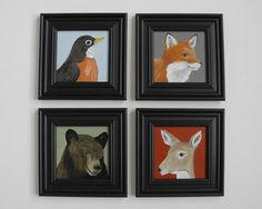 Woodland animal painting miniature canvas art by AshleyDestash, $50.00