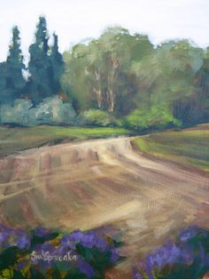 Last of the Lavender - 12x9 Landscape Painting by Sue Cervenka - NUMA Gallery