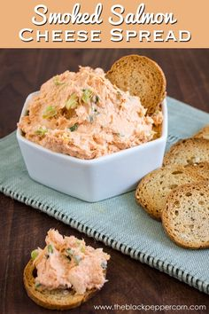 canned salmon easy! Smoked Salmon Cheese Spread Recipe - This easy to prepare smoked salmon dip or spread recipe uses cream cheese, cheddar cheese, sliced green onions and spices. Great on crackers, pita chips and more. Smoked Salmon Spread, Smoked Salmon Appetizer, Smoked Salmon Recipes, Salmon Mousse Recipes, Leftover Salmon Recipes, Smoked Salmon Mousse, Smoked Salmon Pate, Smoked Fish Dip, Canned Salmon Recipes