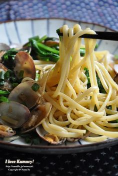 Japanese-Style Soysauce Butter Clam Spaghetti Linguine with Komatsuna Green Spinach|アサリと小松菜の和風ボンゴレ・リングイネ(レシピ)