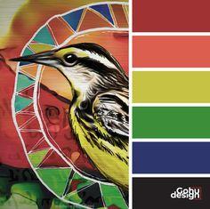 Palette couleurs vivantes inspiration – Rouge + rose + jaune + vert + bleu Bright colors palette inspiration - Red + pink + yellow + green + blue (oiseau - bird) Bright, Rose, Movie Posters, Pink, Movies, Inspiration, Colors, Drawing Drawing, Biblical Inspiration
