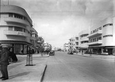 """Tel Aviv (""""The White City"""") Bauhaus Architecure (Vintage Photos). Not all of it looks Bauhaus, but you can see how the city looked during the 1930's/1940's, when many German-born Jewish architects (trained in Bauhaus) were settling into the city and making their impression on the city's architecture. #Bauhaus #Architecture #City #TelAviv"""
