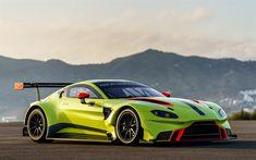 Aston Martin Vantage, GTE Racecar, 2018, 4k, bright green Vantage, sports coupe, British sports cars, Aston Martin
