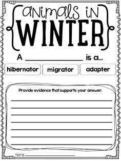 animals in winter graphic organizer