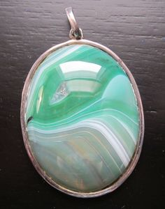 Vintage Sterling Silver HUGE Teal Agate with Druzy by MarshRaven, $55.00