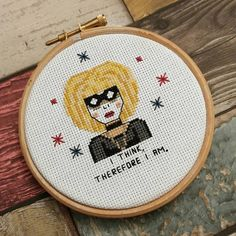 This listing is for Pris , Blade Runner inspired cross stitch pattern, featuring Pris with the words I Think , Therefore I Am This pattern fits perfectly in a 4 hoop so is great to stitch up straight into a hoop so is easy to frame. This cross-stitch pattern comes * full colour chart * a black and white chart * a thread colour table for DMC threads * instructions on how to get started with cross stitch This pattern uses full cross stitches, half cross stitches and back stitch. As this…