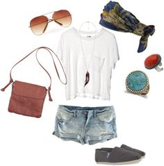 White tee shirt and jeans outfit Statement rings, TOMs, cross-body bag, patterned scarf, aviators. What an awesome laid back summer outfit Fashion Moda, Look Fashion, Fashion Outfits, Fashion Tips, Fashion Trends, Cute Summer Outfits, Casual Outfits, Cute Outfits, Summer Clothes