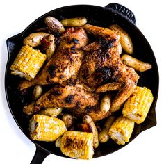 A smaller chicken (something in the two- to three-pound range) will fit in a cast-iron skillet and can go straight from oven to table.