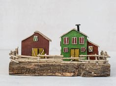 """One of a kind green and burgundy barn house miniature, with wood fence, tin roofs and nail chimneys.  Completly hand made from recycled wood and other metal work details.  + Hand painted with acrylics + Recycled wood, tin, nails + Measurments: 9.5x9x5"""" / 24x22.5x12 cm approx. + Free shipping worldwide"""