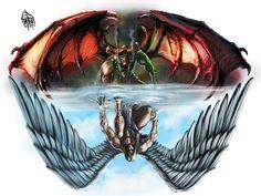 Angel Vs Devil Tattoos Design