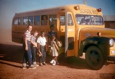 """Vintage School Bus Pics """"Waiting for the School Bus"""" In 1957 In Lubbock, Texas USA"""