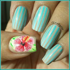 Gradient tape mani and hand drawn hibiscus inspired by a Loaded Lacquer polish
