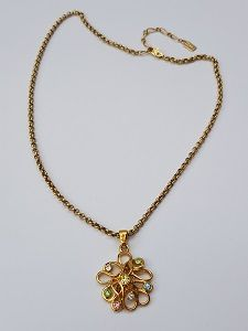 70101cf990d YSL Necklace. Yves Saint Laurent Vintage Gold Tone Necklace with crystals.  French designer jewellery.