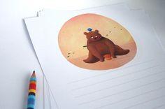 """Papier à lettres illustré imprimé """"Petit ours et son ami"""""""